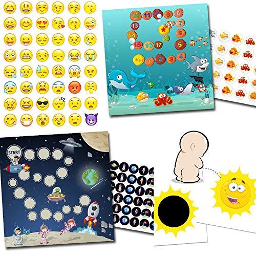 Töpfchen Training mit 2 Belohnungssystemen Aquarium + Weltraum / 1x Effekt Sticker Sonne / 48 Smileys