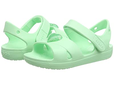 Crocs Kids Classic Cross Strap Sandal (Toddler/Little Kid) (Neo Mint) Girl