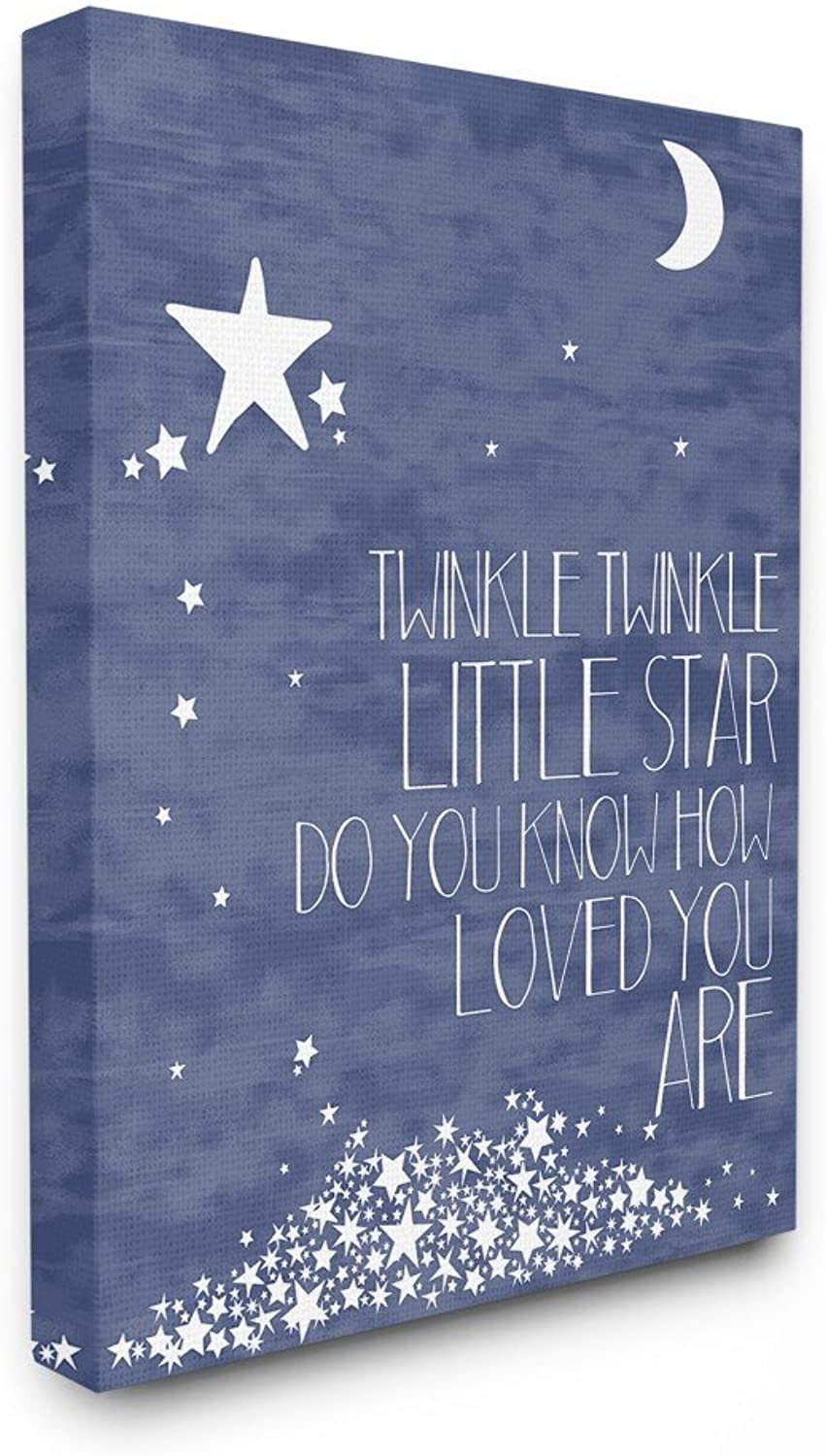 The Kids Room by Stupell Navy Textural Twinkle Little Star Typography Oversized Stretched Canvas Wall Art, 24 x 1.5 x 30, Proudly Made in USA