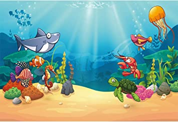 7x10 FT Cartoon Vinyl Photography Backdrop,Cute Whale Swimming with Fish Sailor Marine World Kids Cartoon Image Print Background for Baby Birthday Party Wedding Studio Props Photography