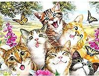 グリーのアイデアDIYモザイクかわいい猫動物画キットフルダイヤモンドラウンドダイヤモンド絵画ダイヤモンド絵画ポイントドリルペン