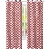 Cortinas opacas para niños, patrón moderno en colores pastel rayas verticales telón de fondo y triángulos, ancho 52 x largo 84 cortinas aisladas térmicas para cocina, coral verde pálido