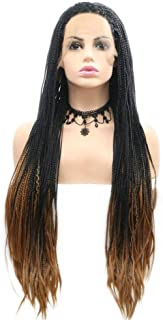 Black Roots Ombre Blonde Lace Front Wig Long Box Braids Wig Heat Resistant Fiber Natural Hairline Synthetic Braided Wigs for Women Ladies Wigs Drag Queen Mermaid Wig 26inches