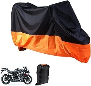 Motorcycle Cover Lance Home Motorbike Waterproof Dustproof Outdoor Cover Black&Orange for Honda Kawasaki Suzuki Yamaha Harley Davidson (XL, 245x105x125cm)