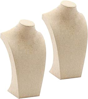 SM SunniMix 2 Pcs Linen Wooden Necklace Display Bust Stand Mannequin - Jewelry Holder for Necklaces Chain, Choker, Pendant - Beige, 115x200mm & 175x290mm