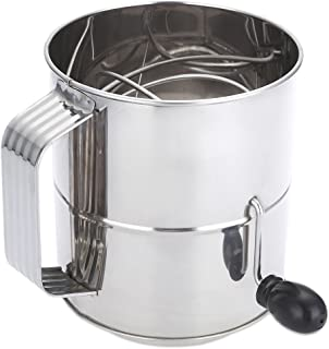 8 Cup Stainless Steel Powder Flour Sifter Baking Shaker Sieve Cup DIY Manual Baking Tool Mesh Crank Icing Sugar Kitchen Sifter