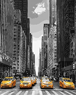 ABEUTY DIY Paint by Numbers for Adults Beginner - New York Street & Car 16x20 inches Number Painting Anti Stress Toys (Wooden Framed)