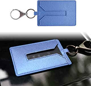 KE-KE Card Holder for Tesla Model 3Leather Protector Cover Key Card Keychain Metal Accessories (Blue)