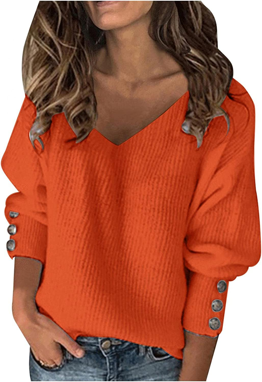 FABIURT Sweater for Women, Womens V Neck Solid Color Tunic Tops Blouse Fashion Knitted Sweaters