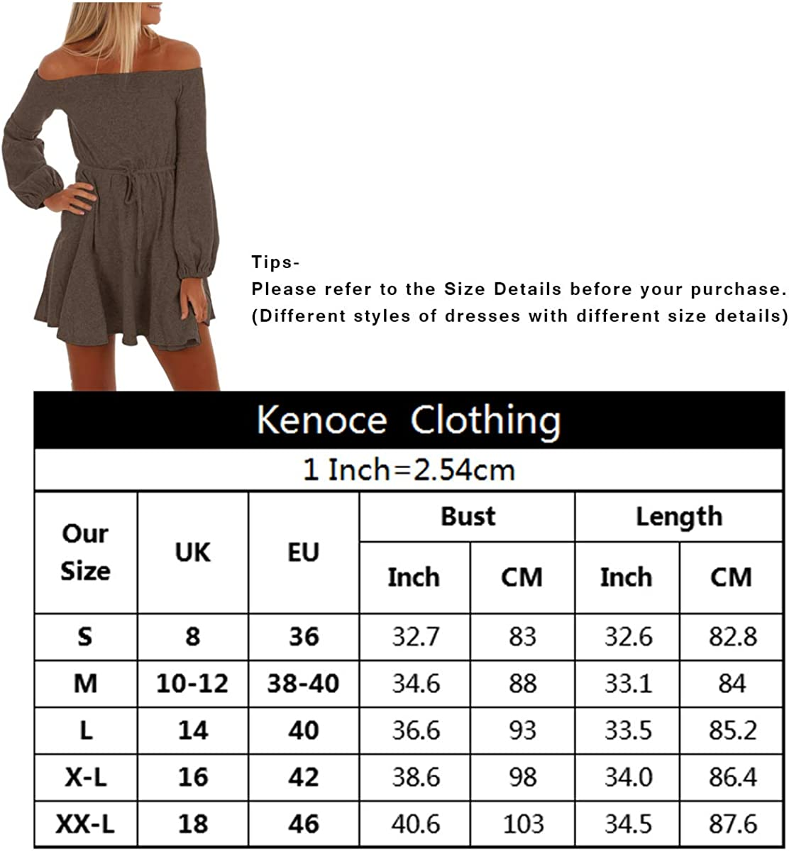 Kenoce Damen Schulterfrei Kleid Kurz Kleider Reizvoller Langarm A-Linie Swing Abendkleid Partykleid Minikleid Cocktailkleid Bluse Braun