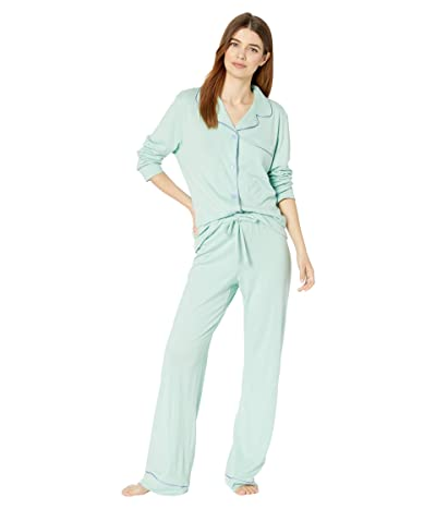 Cosabella Bella Long Sleeve Top Pants PJ Set (Dusty Basil/Riviera Blue) Women