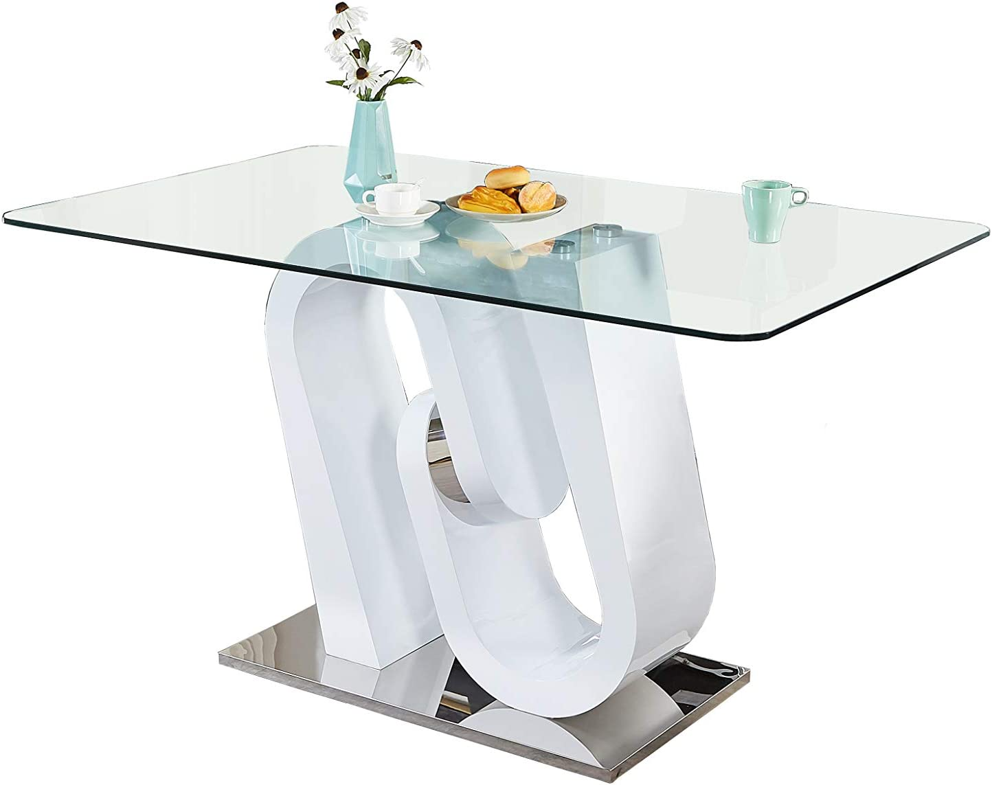 Best Quality Furniture Counter Height Table, White, High Gloss Gray