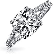 3CT Square Cushion Cut AAA CZ Engagement Ring For Women Cubic Zirconia Split Pave Shank Band 925 Sterling Silver