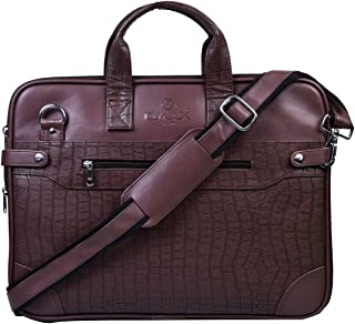 """OMAX 16"""" Sturdy Strong Stylish Black Brown PU Leather Expandable Laptop Briefcase Sleeve Computer Office Work Bag for Men with wide Shoulder Crossbody Strap (Brown)"""