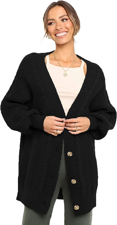HIFUAR Women's Cardigan Sweater Button-Down Long Sleeve Oversized Open Front Fashion Outwear Knit Cardigans