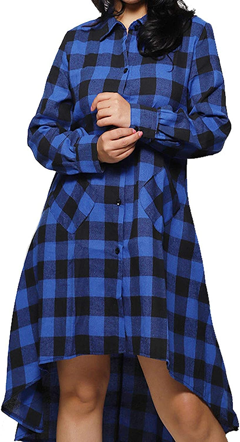 VonVonCo Pullover Sweaters for Women Plaid Checked Cardigan Oversized T-Shirt Ladies Long Sleeve Casual Tops Blouse Coat