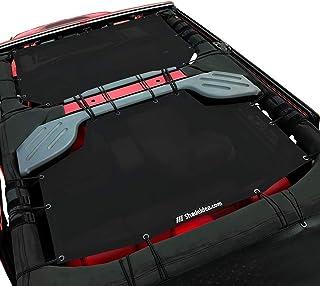 Shadeidea Jeep Wrangler Sun Shade JK Unlimited 4-Door Front & Rear-Black Mesh Screen Sunshade JKU 4D 2007-2018 Top Cover UV Blocker with Grab Bag-10 Years Warranty