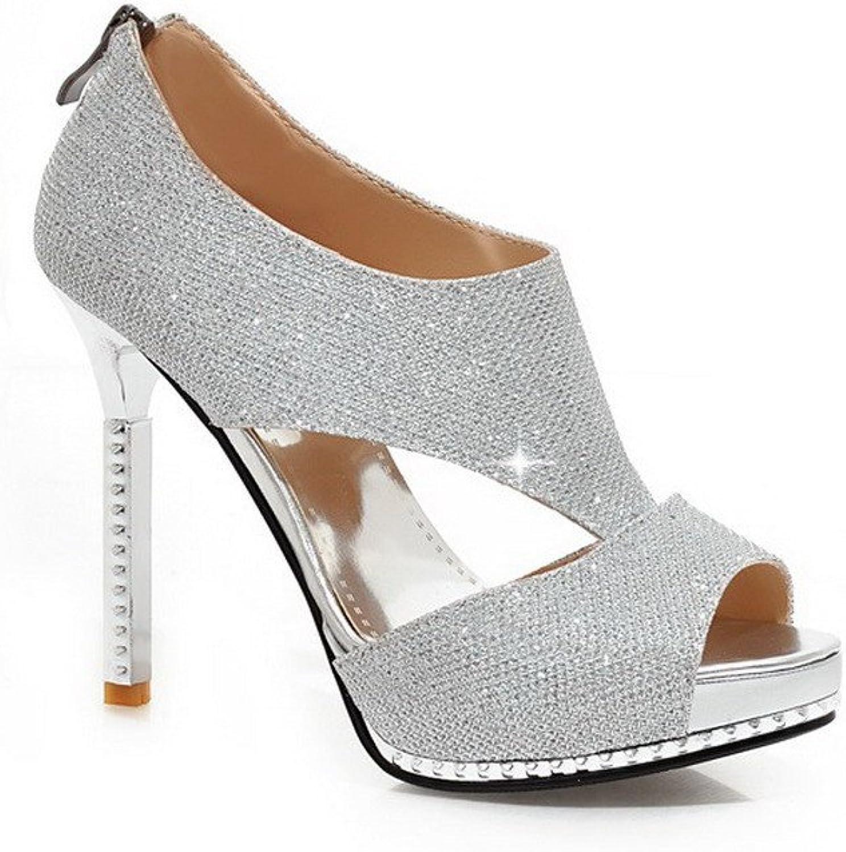 AmoonyFashion Women's High Heels Soft Material Solid Zipper Peep Toe Sandals
