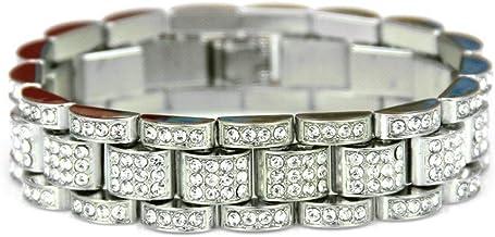 WoCoo Hand Chain Anklet Hip Hop Bling Crystal Bracelet Rhinestone Bracelet Chain for Women Men(Silver)