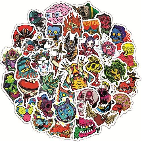 LSPLSP Pegatinas de Graffiti de Calavera de Diablo de Terror gótico, Guitarra, portátil, monopatín, Equipaje, teléfono, calcomanía Impermeable, Pegatina para niños, Juguete / 50 Uds