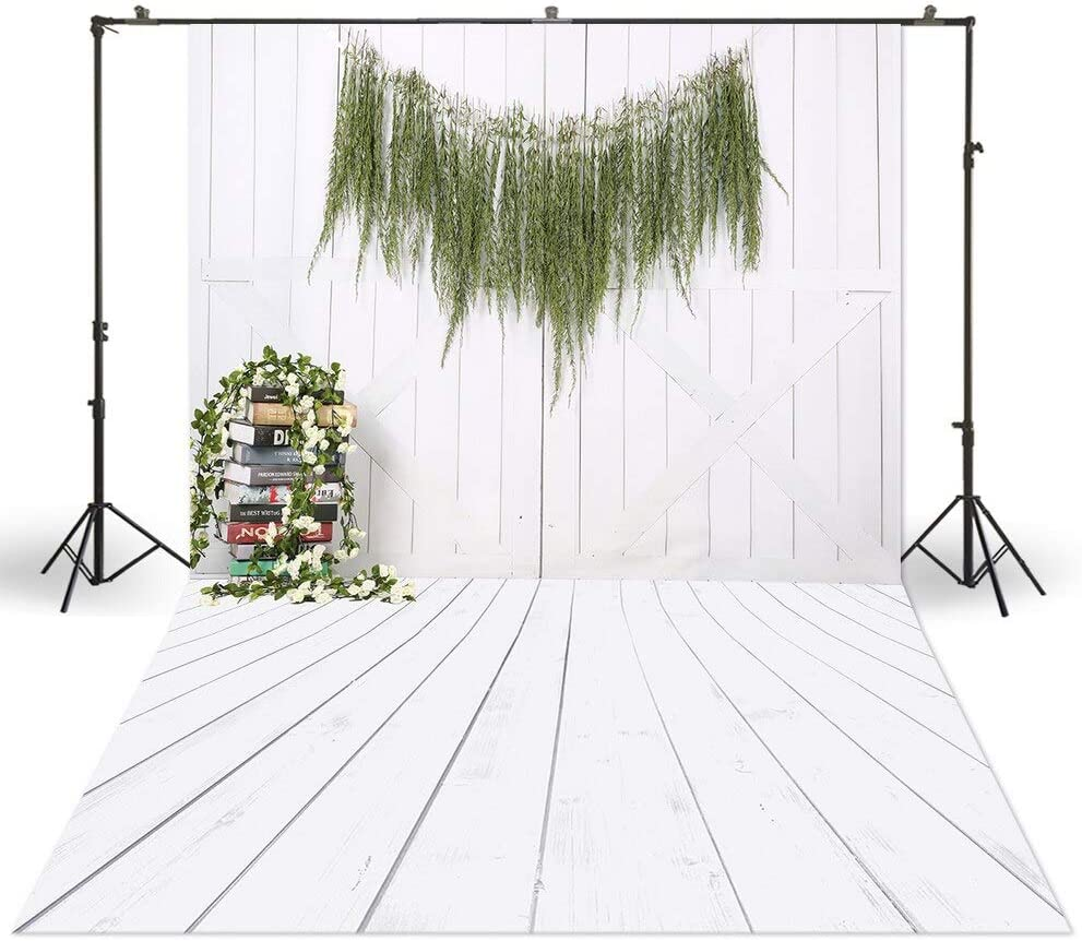 6x8ft Photo Studio Photography Backdrop Flower Rattans Decorations White Wood Grainy Plank Background Baby Christmas Portrait Photo Booth Easter Spring Backgrounds Cake Smash photoshooting Backdrop