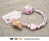 kleinerStorch Veilchenwurzel an Schnullerkette mit Namen - natürliche Zahnungshilfe Beißring für Babys - Schnullerhalter mit Wunschnamen - Mädchen Motiv Herz in rosa