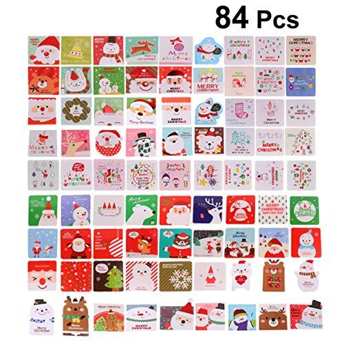 NUOBESTY Tarjetas de felicitación de Navidad 84 Piezas Tarjeta de Navidad Familiar Tarjetas de Navidad Tarjeta de Mensaje Postales de Vacaciones Personalizadas con Sobres