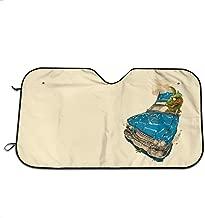 JML-LUV Crazy Pug Lady Windshield Sun Shade Sail Universal Fit Car Sunshade Protection - Keep Your Vehicle Cool. UV Sun and Heat Reflector