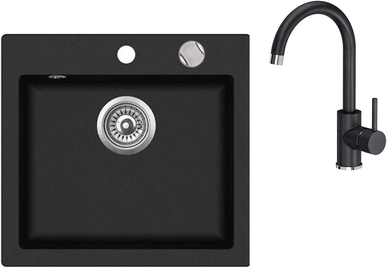Granite Kitchen Sink 46 x 49 cm Single Kitchen Built-in Sink Composite Sink Kitchen Sink Black Speckled Reversible + Drexexcenter + Siphon Sink + 360° redatable U-Shaped Tap Single Lever Mixer