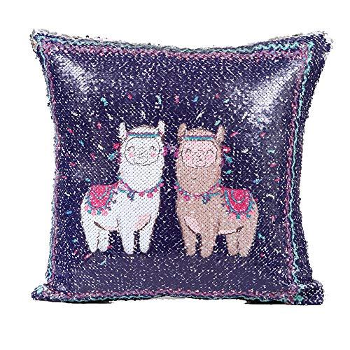 Amphia - Pailletten-Kissenbezug mit Alpaka-Muster - DIY Zwei Ton Alpaka Glitter Pailletten Dekokissen Dekorative Kissenbezug(40cm*40cm)