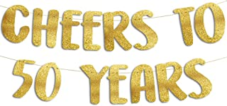 Cheers to 50 Years Gold Glitter Banner - 50th Anniversary...