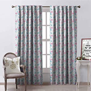 GloriaJohnson Baby Blackout Curtain Milk Bottles Pacifiers Rattles Pattern Hand Drawn Baby Toys Themed Ornate Image 2 Panel Sets W42 x L84 Inch Pink Blue White