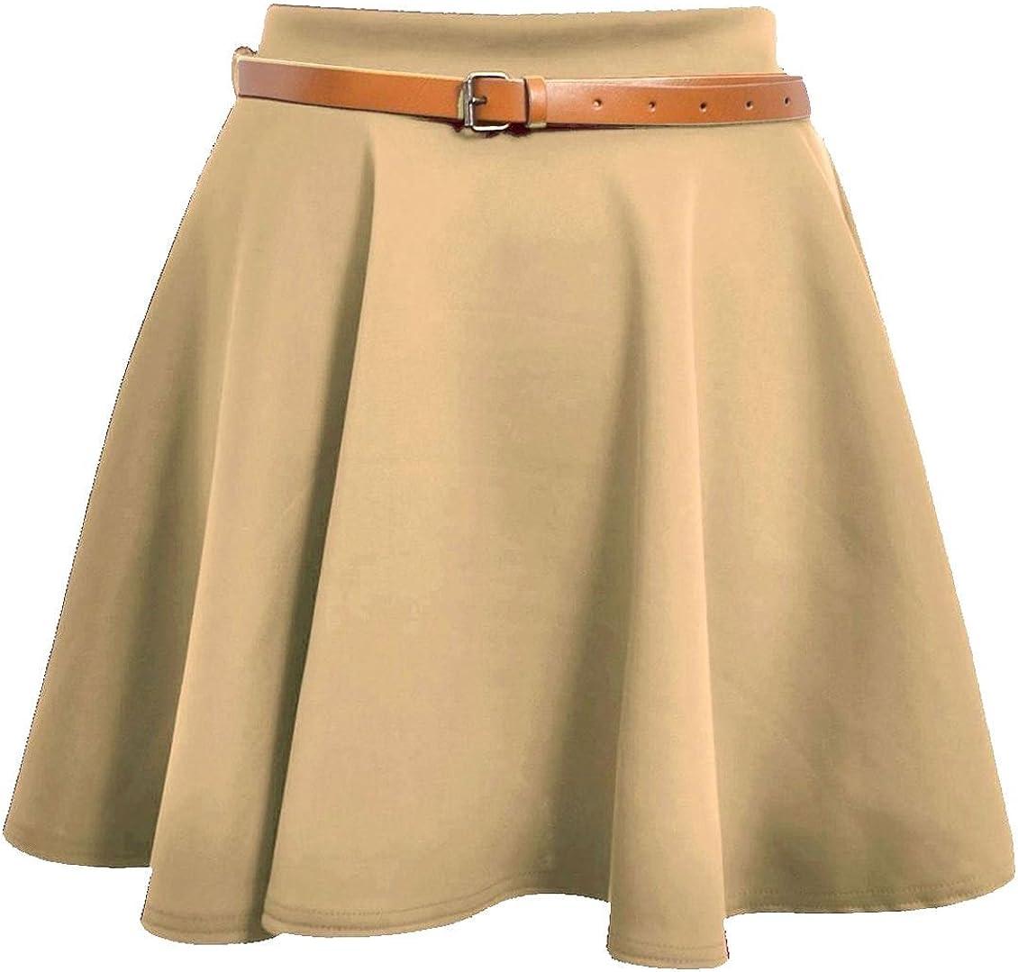 Rimi Hanger Womens Belted Mini Skater Skirt Ladies Plain Flared Skater Swing Party Skirt Small/XX-Large