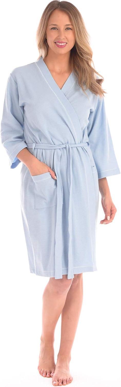 Patricia Women's Soft Waffle Knit Knee Length Kimono Robe