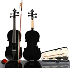 2019 New 1/2 Size Violin Case Acoustic Violin Case Durable Natural Solid Wood Fiddle for Beginners and Students w/Case, Bow and Rosin Black(US stock)