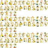 78 Pieces Enamel Letter Charms Flower Style Alphabet Enamel Charms DIY Flower Letter Charm Pendants with Hole for DIY Jewelry Necklace Earring Bracelet Craft Making