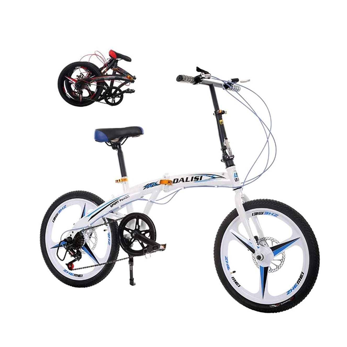 推進力不利扱いやすい子供用折りたたみ自転車、20インチポータブルシフティングディスクブレーキ、アルミニウム合金、男子と女子の片輪自転車(色:白)