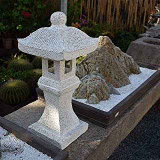 Japanese Solar Pagoda Garden Ornament Pagoda Zen Lantern Buddha Decor Statue,Outdoor Lighting (Color : White+height60.5cm)