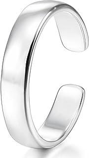 MunkiMix 2~4mm 925 Sterling Silver Anelli di punta Anelli aperti Cupola pianura Regolabile Donna
