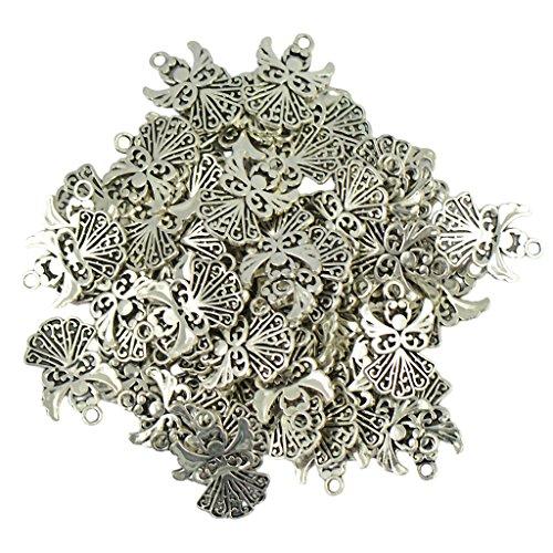 MonkeyJack 50pcs Alloy Filigree Hollow out Angel Charms Pendant Jewelry DIY Crafts Bulk