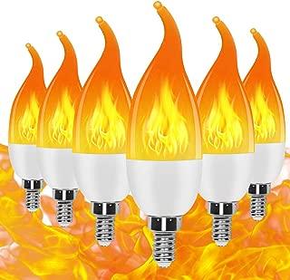 Prosperbiz E12 Flame Bulb LED Candelabra Light Bulbs,1.5 Watt Warm White LED Chandelier Bulbs,1600k 3 Mode Candle Light Bulbs, Flame Tip for Festival/Hotel/Bar Party Decoration/Halloween Decoration