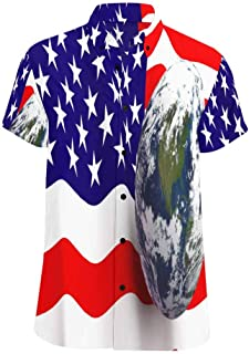 INTERESTPRINT Men's Casual Shirt Earth in Foreground Showing USA T Shirts Casual Short Sleeve Tee Shirts S-5XL
