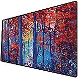 Alfombrilla de ratón (800x400x3 mm) Bosque, Pintura al óleo Ver otoño Bosque impresionismo Moderno impresión de Arte, pimentón Azul m Superficie Suave y cómoda de la Alfombrilla de ratón para Juegos