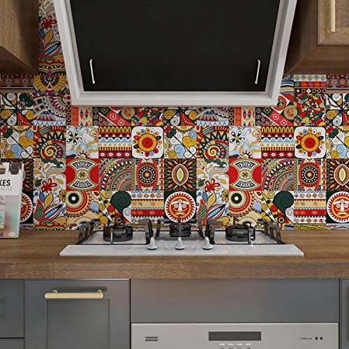 Heimerdinger Thangka Vintage Indian red Decal Vinyl Tile Stickers Peel & Stick backsplash self-Adhesive Removeable Kitchen and Bathroom Wall Water Proof Stickers 25 Pieces Pack 6X6inches(15cmX15cm)
