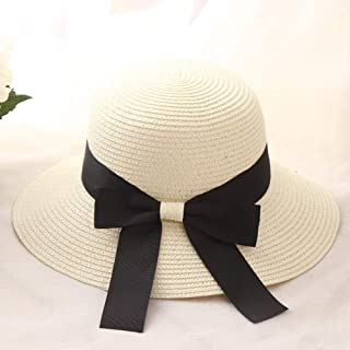xiejindou XJD Ladies Sun hat Fisherman hat Beach hat Bow Straw hat Round Bottom Flat hat for Outdoor Sports Travel Daily Travel Beach Sunscreen Sunshade to Resist UV can be Folded