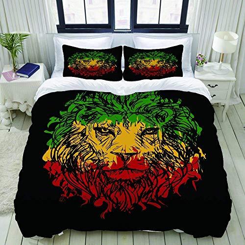 966 LICUNNI Bettwäsche-Set, Mikrofaser,Rasta, äthiopische Flaggen-Farben auf Schmutz flüchtigem Lion Head mit schwarzem Hintergrund,1 Bettbezug 135 x 200cm+ 2 Kopfkissenbezug 80x80cm