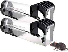Humane Mouse Trap That Work -2 Pack - Reusable Smart No Kill No Touch Rodent Catcher Mice Rat Live Trap Catch and Release, Safe for Children and Pets, Trampa para Ratas y Ratones, 12.6'' Length