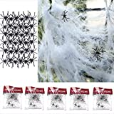 Tian 5 packs Mirada Realista Telaraña con 50 Arañas para Halloween Decoracion Terror(Blanco)