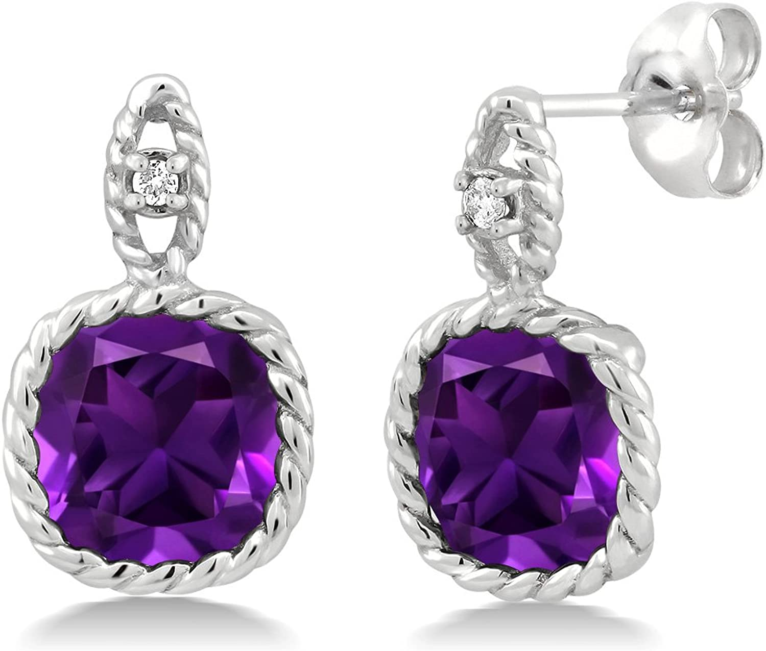 10K White gold 4.10 Ct 8mm Cushion Purple Amethyst and Diamond Cable Earrings