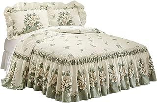 Collections Etc Magnolia Garden Floral Ruffle Skirt Lightweight Bedspread, Sage, Full